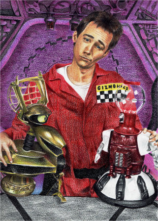 """Joel and the 'Bots"" colored pencil, 2011; MST3K belongs to Shout! Factory"